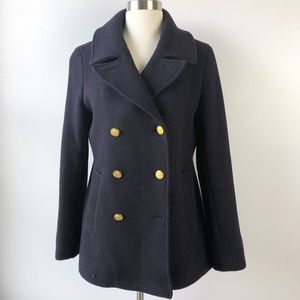 J Crew Navy Wool Stadium Cloth Pea Coat Jacket 10